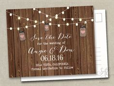 50 pc / 50 invite/rsvp  Rustic Wedding Save the by SAEdesignstudio