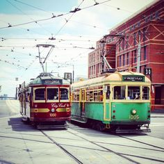 The Red Car and the Green Car had a Race.... #OldPhotos #Melbourne #Australia #CityCircleTram #Tram #StreetCar #PublicTransport #Y2011