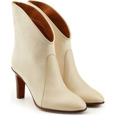 Chloé Ankle Boots (4,185 HKD) ❤ liked on Polyvore featuring shoes, boots, ankle booties, white, ankle boots, bootie boots, short boots, leather booties and white booties