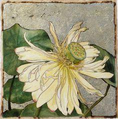 Water Lily Series #1 mixed media itaglio monoprint by Carol Strause FitzSimonds
