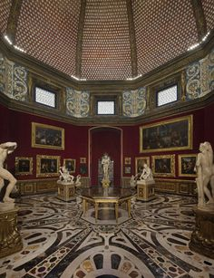 The ornate interior of Florence's Uffizi Gallery.