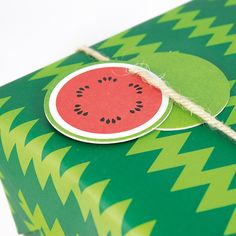 Watermelon gift tag and wrapping paper