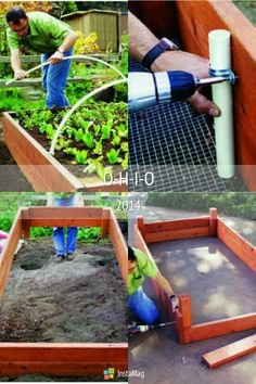 Quick easy way to build an above ground garden (raised bed) with an added touch of a green house capability.