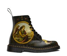 Dr Martens Di Paolo Pascal 1460 boot emblazoned with The Annunciation, a painting by Giannicola Di Paolo-which features the archangel Gabriel handing a lily, the symbol of purity, to the Virgin Mary. Dr. Martens, Dr Martens Store, Shoe Sites, Goodyear Welt, Museum Collection, Black Leather Boots, Shoe Boots, Women's Boots, Combat Boots