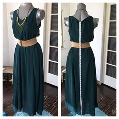 chiffon with slip under Used 1 time.  Cleaned for ya.  Does not come with accessories or belt. Please see pics for measurements.  Priced to sell Dresses Maxi