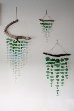 Sea glass and driftwood mobile - GardenWeb / wall decor