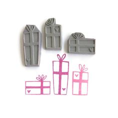 Heart Gifts Rubber Stamp Set - Hand Drawn Rubber Stamps - Cling Rubber Stamps
