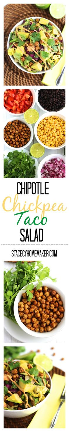 #Vegetarian #taco salad that's tossed in a spicy avocado #chipotle sauce and topped with crunchy, roasted #chickpeas.