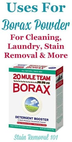 Article plus round up of uses for Borax powder around your home for cleaning laundry stain removal odor control as an ingredient in homemade cleaner recipes and even for pest control {on Stain Removal Deep Cleaning Tips, House Cleaning Tips, Diy Cleaning Products, Cleaning Solutions, Spring Cleaning, Cleaning Hacks, Cleaning Recipes, Pest Solutions, Cleaning Checklist