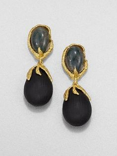 Alexis Bittar - Green Agate and Lucite Drop Earrings - Saks.com EVEN THE BACK of these ear rings is FABULOUS!  click the link. :)