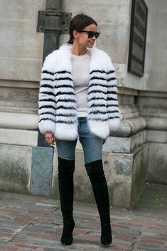 Miroslava Duma in a striped fur and her trusty thigh highs in London #MiraDuma #LondonFashionWeek2014