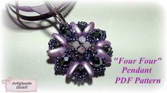 """Tutorial ciondolo  con chilli beads - """"Four Four"""" - Schemi di perline"""