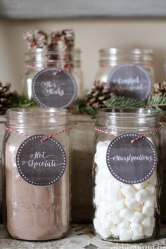 """FREE Hot Chocolate Bar Printable I Upcycled Treasures """"Baby It's Cold Outside"""" Hot Beverage Bar Station for weddings or holiday parties"""