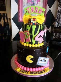 80s themed party cake by Designer Cakes By April, via Flickr (LOVE this for my 40th Birthday!)