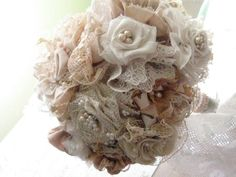Fabric flower bouquet Rustic Shabby chic Heirloom by pastpanache, $150.00
