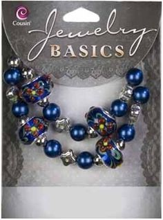 29pc Glass Dark Blue Large Hole Mix - 6-14mmJewelry Basics An exquisite collection of classic beads that will sparkle in your homemade creations.  Features large, dark blue floral beads, with complimentary accents.  Fashion this set into alluring jewelry with individual style!Mixed Glass/Metal Bead StrandDark Blue Floral Beads, with Large HoleDark Blue and Silver Accents [$4]