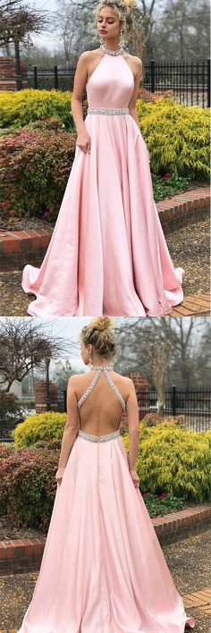 Fashion A-line Pink High Neck Sexy Back Cheap Beading Prom Dress #pink #beading #satin #pocket #aline #long #prom #okdresses