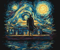 I don't generally like these art mixed and pop culture memes, but there is something poignant about this one, a kind of mad genius that connects Sherlock and Van Gogh and this painting.