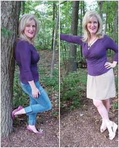 Women over 45--check out this darling top that creates a great fall outfit.   Monroe and Main Aubergine Fall Color Confidence 2015