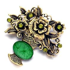 BIRTHSTONE GREEN GLASS BOUQUET BROOCH PIN FLORAL Beauty Jewelry. $16.00. Size (mm): 55.6*12.6*42.69. Metal: Metal, Crystal. Weight (gram): 9. DELIVERY 5 - 10 days. Color: Green