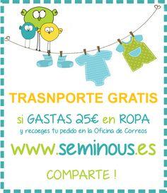 Trupe!  Llega la Primavera y con ella el cambio de ropa. Ahora en SEMI9S el Transporte es  GRATIS.  ► www.seminous.es  WEB: www.seminous.es FACEBOOK: facebook.com/seminous.es PINTEREST:www.pinterest.com/seminous BLOG: seminous.blogspot.com TWITTER: twitter.com/SEMI9S INSTAGRAM: instagram.com/semi9s