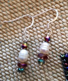 Pearl and Spring colored  Dangles on Etsy, $30.00