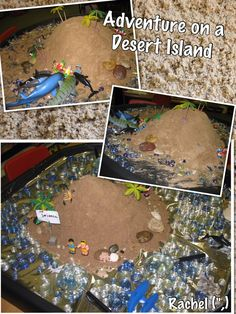 "Small World Play. Desert Island Adventure - by Rachel ("",) Science Projects, School Projects, Tuff Tray, Classroom Displays, Classroom Ideas, Third Grade Science, Physics Classroom, Small World Play, Three Little Pigs"
