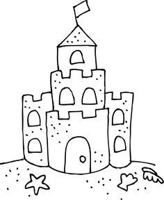 Sand art projects - Sand Castle Clip Art Black And White Cute sand castle coloring page Castle Coloring Page, Beach Coloring Pages, Preschool Coloring Pages, Free Coloring, Sand Castle Craft, Castle Crafts, Sand Art Crafts, Ocean Crafts, Summer Crafts For Kids
