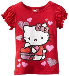 Hello Kitty Little Girls' Short Sleeve T-Shirt, Red, 2T H...