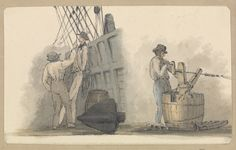 Two deck scenes: two men relaxing on deck, and a man working a winding handle fixed on a barrel (Rope making actually)  ca. 1820