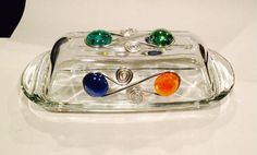Butter Dish-3 Sided Beaded Wire Wrapped Butter by CraftyGalsCreate