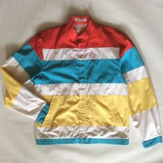 1960's windbreaker jacket, European, classic mod style, with wide stripe panels in red, blue, yellow, & white, men's medium / women's large by afterglowvintage on Etsy