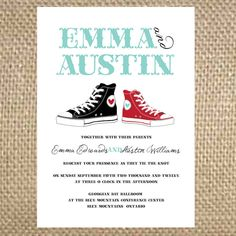 Tie the Tennis Shoe Knot Wedding Invitation by uluckygirl on Etsy, $3.50