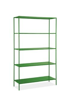 Slim shelves in green by Room & Board - so many great colors.