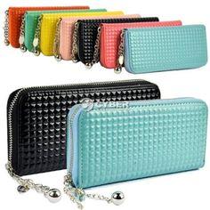 Fashion Women Zip PU Leather Colorful Clutch Case Lady Long Handbag Wallet Purse