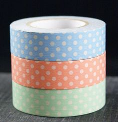 Washi tape set  Pastels with polka dots  blue by kawaiigoodies