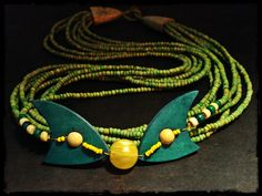handmade necklace made with wooden elements and beads