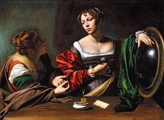The Conversion of Mary Magdalen (also known as Martha and Mary Magdalen): 1598 by Caravaggio (Detroit Institute of the Arts, MI) - Baroque