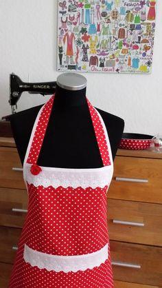 """Schürzen - """" Spitze in rot !!! """" - Schürze/Kochschürze - ein Designerstück von XBergDesign bei DaWanda"""
