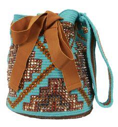 Swarovski Crystals on a Wayuu Taya bag. Tapestry Bag, Tapestry Crochet, Mochila Crochet, Clutch Bag, Tote Bag, Boho Bags, Craft Bags, Knitting Accessories, Knitted Bags