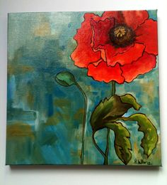 Could do this similar idea with a blue background and a white flower. Or, whatever color combo. POPPY 1 Acrylic Painting 12 x 12 Original Art by pearlygrae