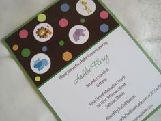Baby animals shower invitation.  Perfect for a fun and creative shower featuring bright colors!