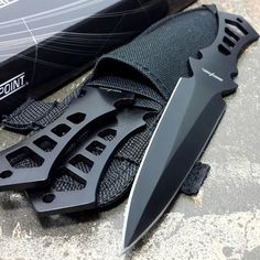 ~ 10.00 ~ PERFECT POINT 3 Pieces THROWING KNIFE Black Ninja Throwers Set Knives Nylon Case #PERFECTPOINT