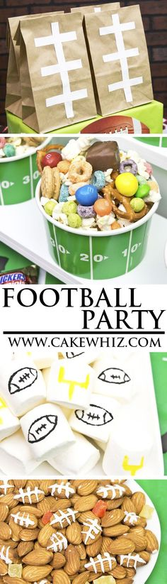 Celebrate the big game by throwing a fun FOOTBALL PARTY! This dessert table is packed with lots of football party food and snack ideas, decorations, games and even a football pull apart cupcake cake! From cakewhiz.com