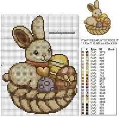 CONIGLIO PASQUALE THUN SCHEMA PUNTO CROCE Cute Cross Stitch, Cross Stitch Animals, Cross Stitch Embroidery, Hand Embroidery, Cross Stitch Patterns, Easter Cross, Easter Crochet, Animal Crackers, Holidays And Events