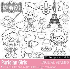 Parisian Girls - Digital stamps - Paris clipart - Line art