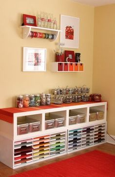 Scrapbook room organization Would LOVE to have a room like this Craft Room Storage, Craft Organization, Paper Storage, Craft Rooms, Storage Shelving, Storage Ideas, Ribbon Storage, Shelf Paper, College Organization
