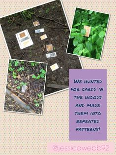 Making repeated patterns in the woods. Outdoor Learning, Outdoor Play, Early Years Maths, Pattern Quotes, Learning Environments, Eyfs, Repeating Patterns, Mathematics, How To Dry Basil