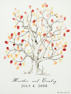 the ultimate thumbprint tree guest book--- seems like something I already carved from a woodblock print... shibby!