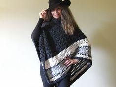 Chunky Crochet Poncho  Pattern maybe not necessary..